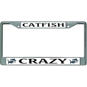 Catfish Crazy Chrome License Plate Frame