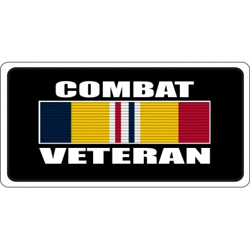 Combat Veteran Black Photo License Plate
