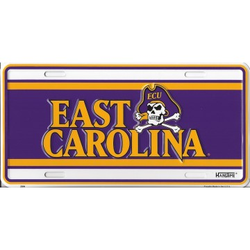 East Carolina University Purple/White Metal License Plate
