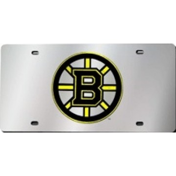 Boston Bruins Silver Laser License Plate