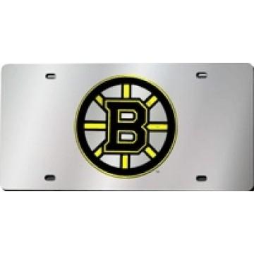 Boston Bruins Silver Laser License Plate