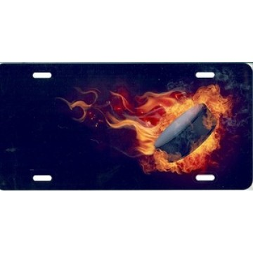 Flaming Hockey Puck Airbrush License Plate