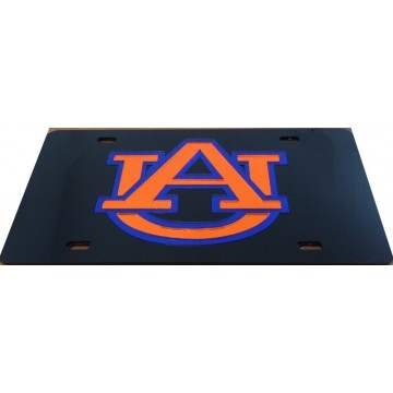 Auburn Laser On Black Team License Plate