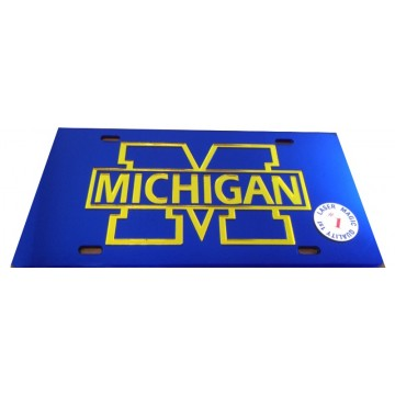 Michigan Wolverines Blue Laser License Plate