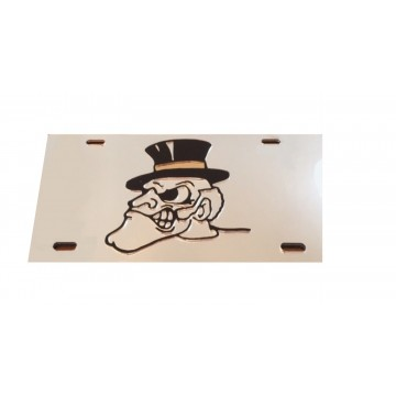Wake Forest Demon Deacon Logo Silver Laser License Plate