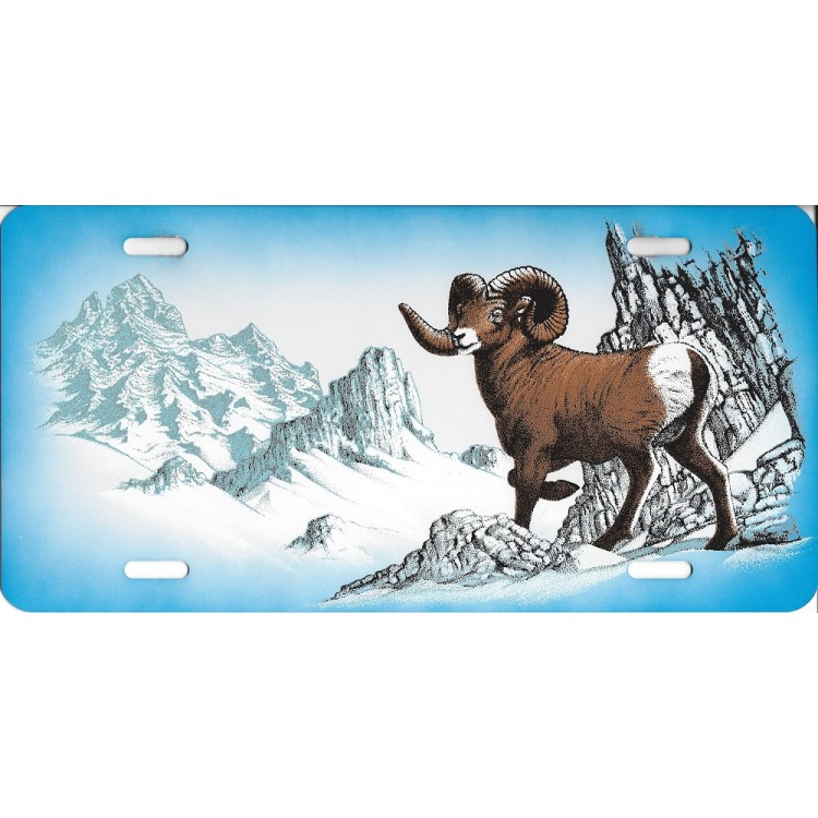 Big Horn Sheep Airbrush License Plate