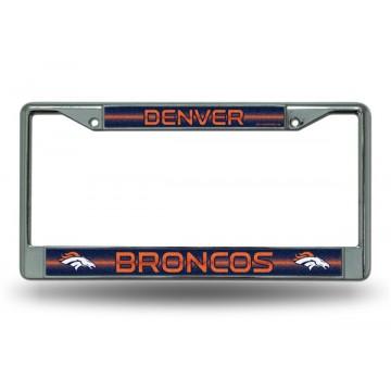 Denver Broncos Glitter Chrome License Plate Frame