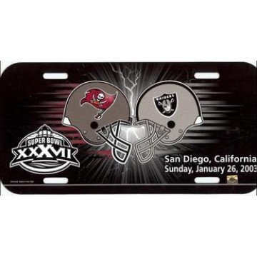Dueling Tampa Bay Bucs / Oakland Raiders Plastic License Plate