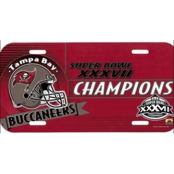 Super Bowl XXXVIII Champion Tampa Bay Buccaneers Plastic License Plate