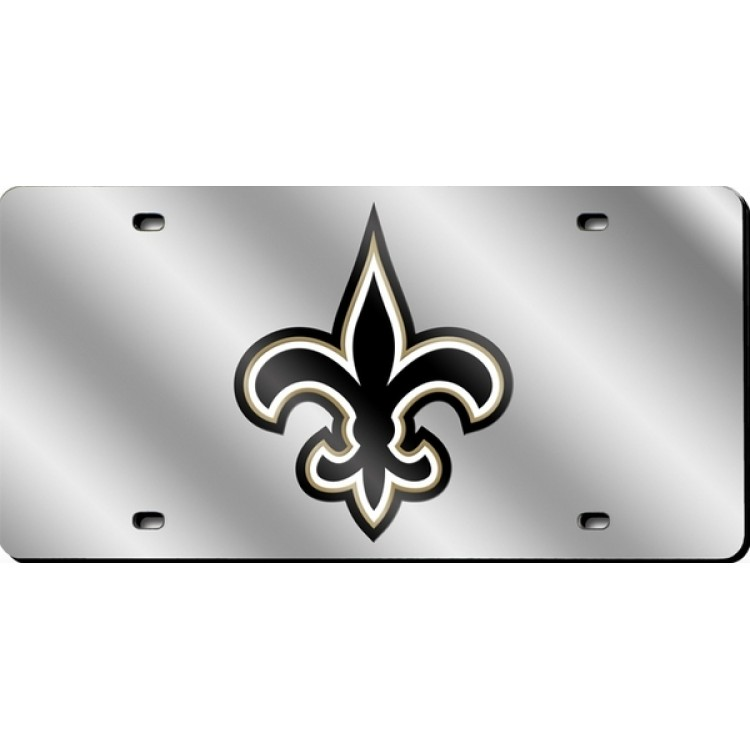 New Orleans Saints Silver Laser License Plate