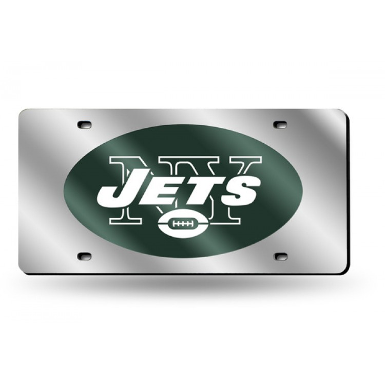 New York Jets Silver Laser License Plate