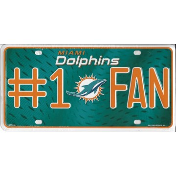 Miami Dolphins #1 Fan License Plate