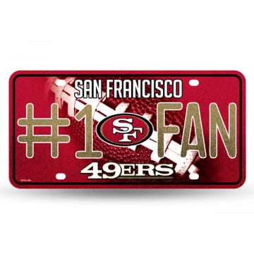San Francisco 49ers #1 Fan Glitter License Plate