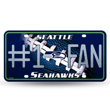 Seattle Seahawks #1 Fan Glitter License Plate
