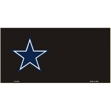 Country Blue Star Offset On Black License Plate