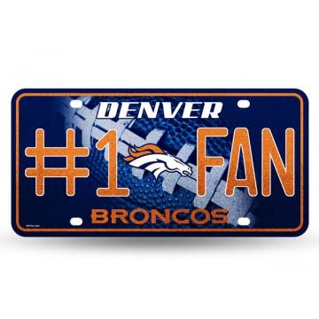 Denver Broncos #1 Fan Glitter License Plate
