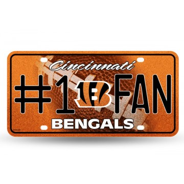 Cincinnati Bengals #1 Fan Glitter License Plate