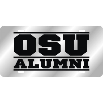 Oklahoma State Cowboys Alumni Silver Laser License Plate