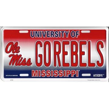 University Of Mississippi GOREBELS Metal License Plate