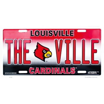 "Louisville Cardinals ""THE VILLE"" Metal License Plate"