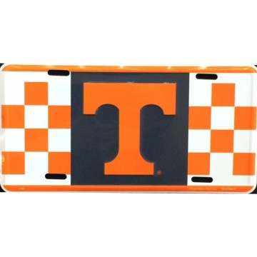 Tennessee Vols Checkered Metal License Plate