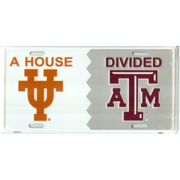 Texas Longhorns & A&M  House Divided License plate