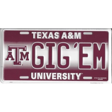 GIG'EM Texas A&M Metal License Plate