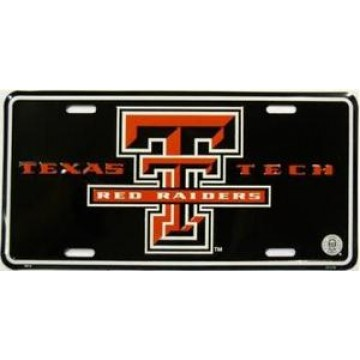Texas Tech Red Raiders Black Metal License Plate