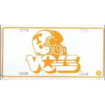 Tennessee Vols Helmet White Metal License Plate