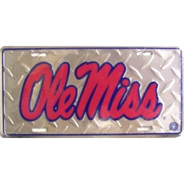 Ole Miss Diamond Metal License Plate