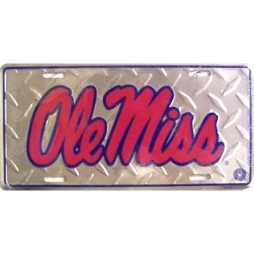 Ole Miss Diamond Metal License Plate