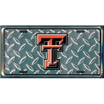 Texas Tech Red Raiders Diamond Metal License Plate