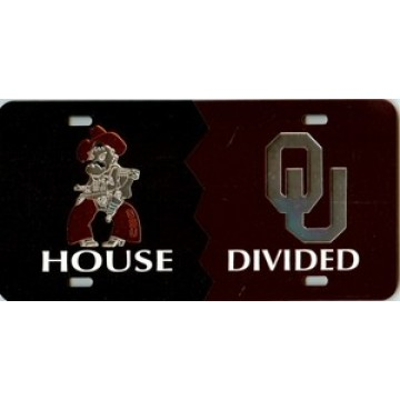 Oklahoma St/Oklahoma House Divided Laser Plate