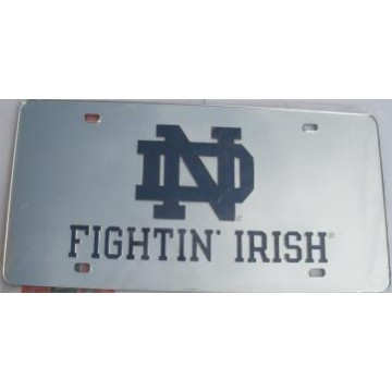 Notre Dame Silver Laser Cut License Plate