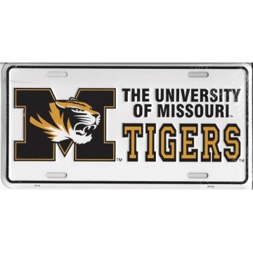 Missouri Tigers White License Plate
