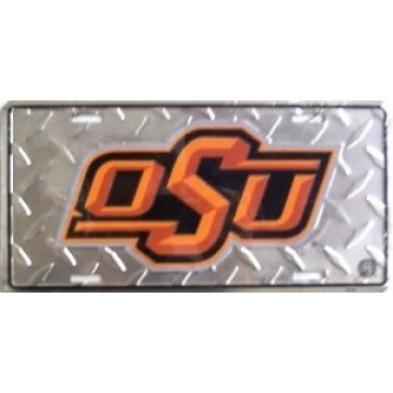 Oklahoma State Cowboys Diamond License Plate