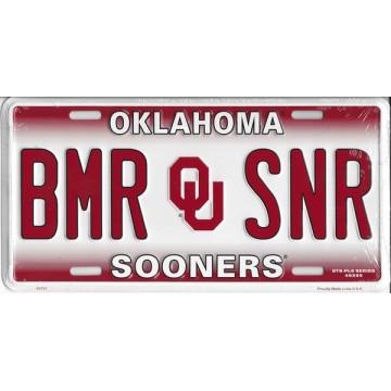 Oklahoma Sooners BMR SNR Metal License Plate