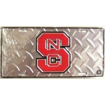 North Carolina State Wolfpack Diamond Metal License Plate