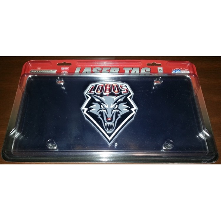 New Mexico Lobos Silver Laser Plate