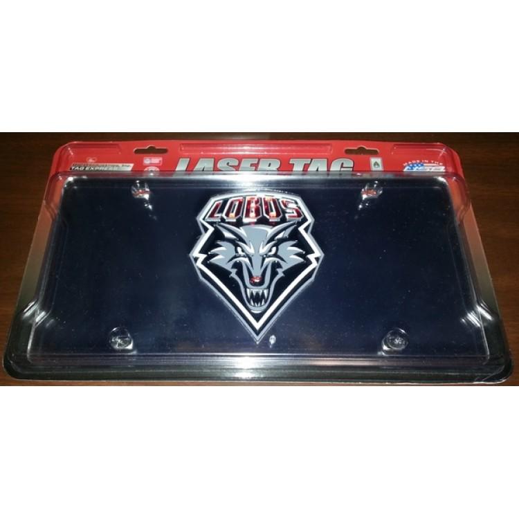 New Mexico Lobos Silver Laser Plate