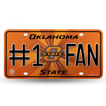 Oklahoma State Cowboys #1 Fan Glitter License Plate