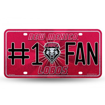 UNM Lobos Logo Car Tag Diamond Etched on Aluminum License Plate