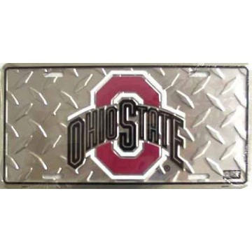 Ohio State Buckeyes Diamond Metal License Plate