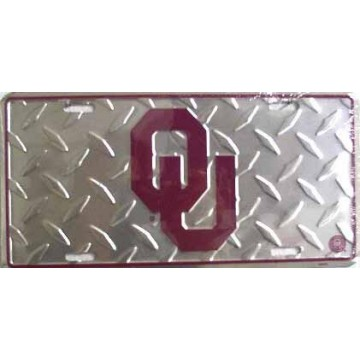 Oklahoma Sooners Diamond Metal License Plate