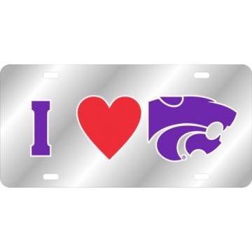 Kansas State Wildcats I heart Laser License Plate
