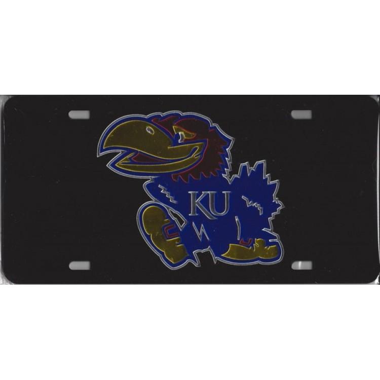 Kansas Jayhawks Black Laser Plate