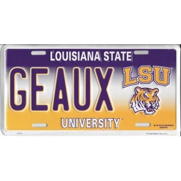 GEAUX LSU Metal License Plate