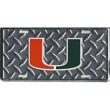 University Of Miami Hurricanes Diamond Plate License Plate