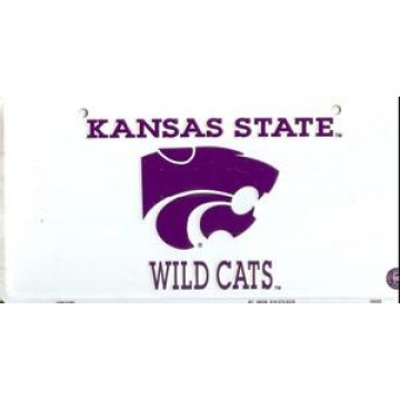 Kansas St. Wildcats White License Plate