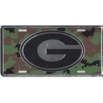 Georgia Bulldogs Camo Metal License Plate